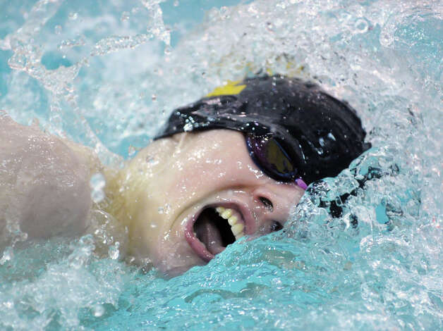 Sam Carley of Trumbull High School competes in the 200 freestyle event during the FCIAC Swimming championships at Greenwich High School, Thursday night, Feb. 28, 2013. Photo: Bob Luckey / Greenwich Time