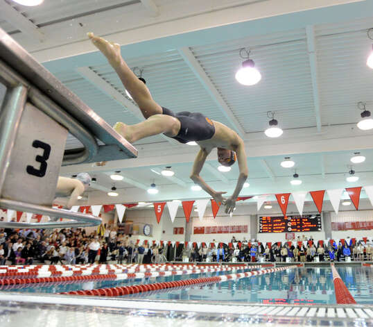 Noah Scott of Ridgefield High School competes in the 200 butterfly event during the FCIAC Swimming championships at Greenwich High School, Thursday night, Feb. 28, 2013. Photo: Bob Luckey / Greenwich Time