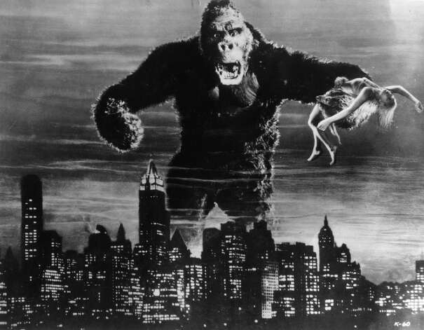 One of John Cerisoli's models of the giant ape, poised above the New York skyline in a scene from the classic 1993 monster movie 'King Kong'. Photo: Hulton Archive, Getty Images / Moviepix