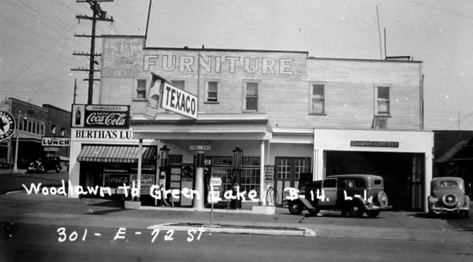 Long before the construction of the Baskin Robbins building in 1972, the Green Lake property was home to a Texaco gas station and a restaurant called Bertha's in the 1930s. Photo: Puget Sound Regional Archives
