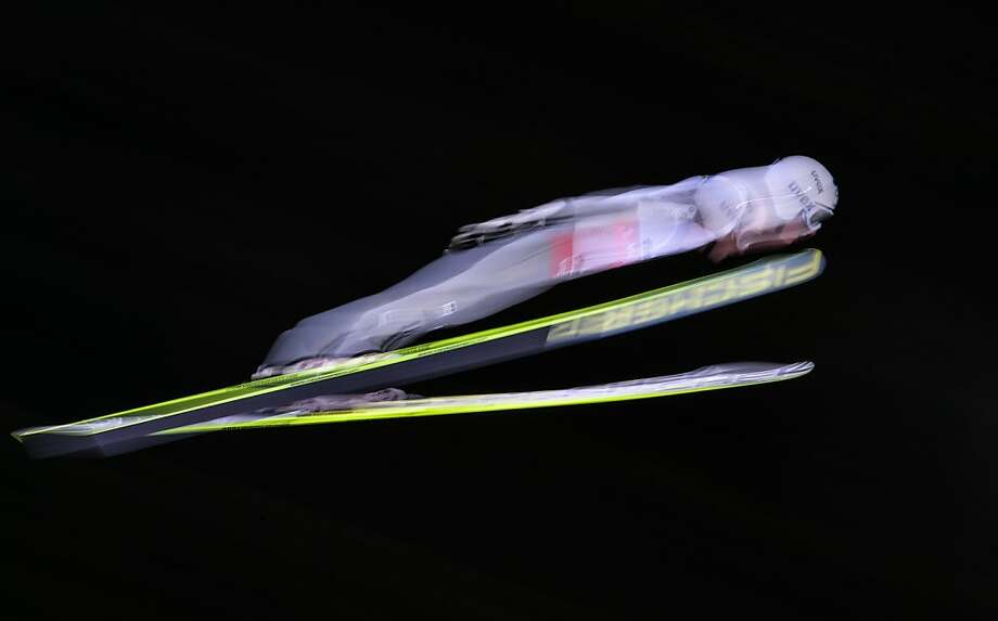Czech's Jakub Janda soars through the air on on February 28, 2013 during the Large Hill Individual race of the FIS Nordic World Ski Championships at the Ski Jumping stadium in Predazzo, northern Italy. Photo: Andreas Solaro, AFP/Getty Images
