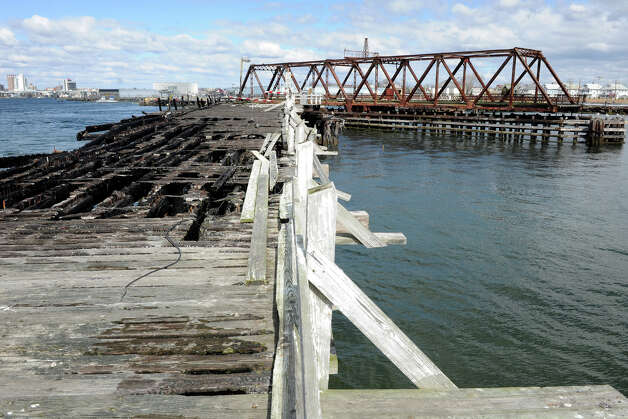 The burned out bridge to Pleasure Beach, in Bridgeport, Conn. April 2nd, 2012, seen from the Pleasure Beach side. The bridge has been closed to traffic since burning on June 16th, 1996. Photo: Ned Gerard / Connecticut Post