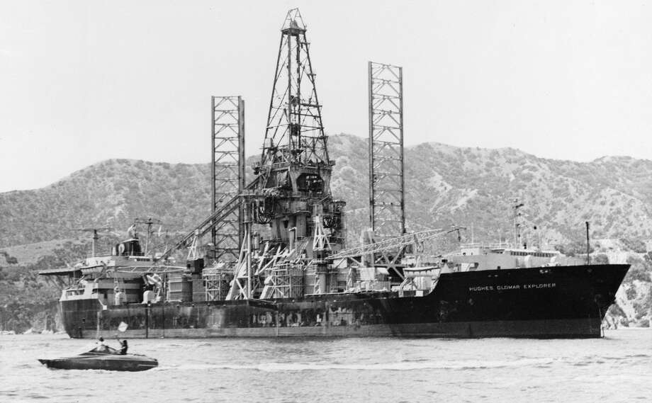 The Glomar Explorer was built by Howard Hughes in 1974, purportedly for his company, Global Marine Development, Inc. to mine magnesium from the seafloor. In reality, the ship was operated by the CIA, which used it to covertly raise a portion of a Russian nuclear submarine that sunk in 1968. Photo: Associated Press