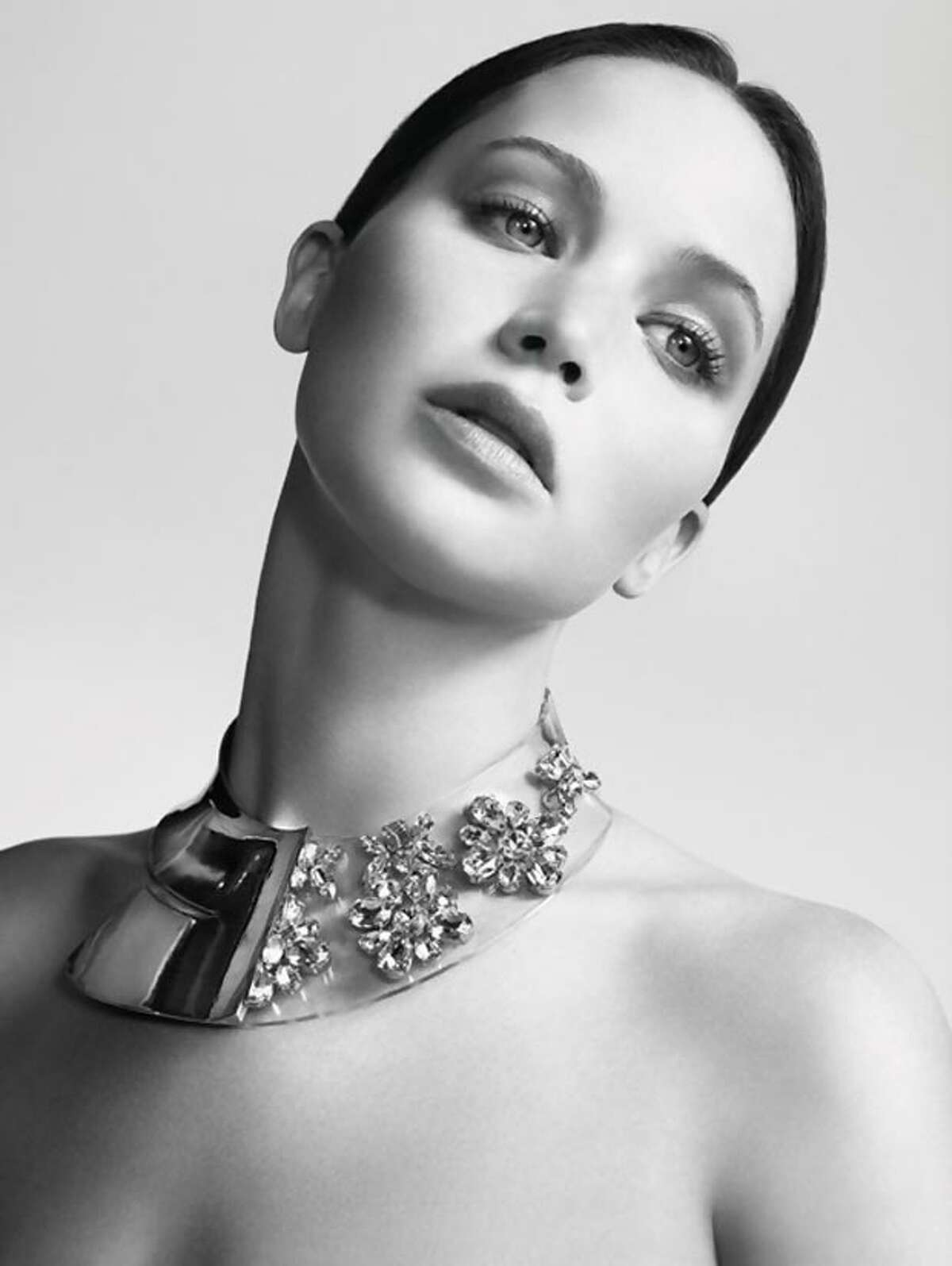 Jennifer Lawrence in a Dior necklace as a part of the brand's new advertising campaign.