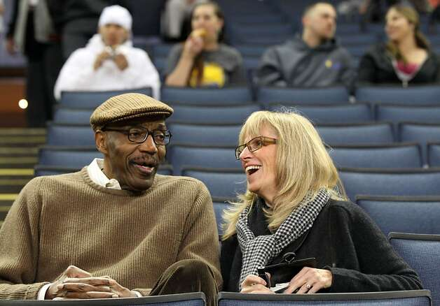 Nate Thurmond, now the Warriors' celebrity ambassador, attends a game with wife Marci. Photo: Lance Iversen, The Chronicle
