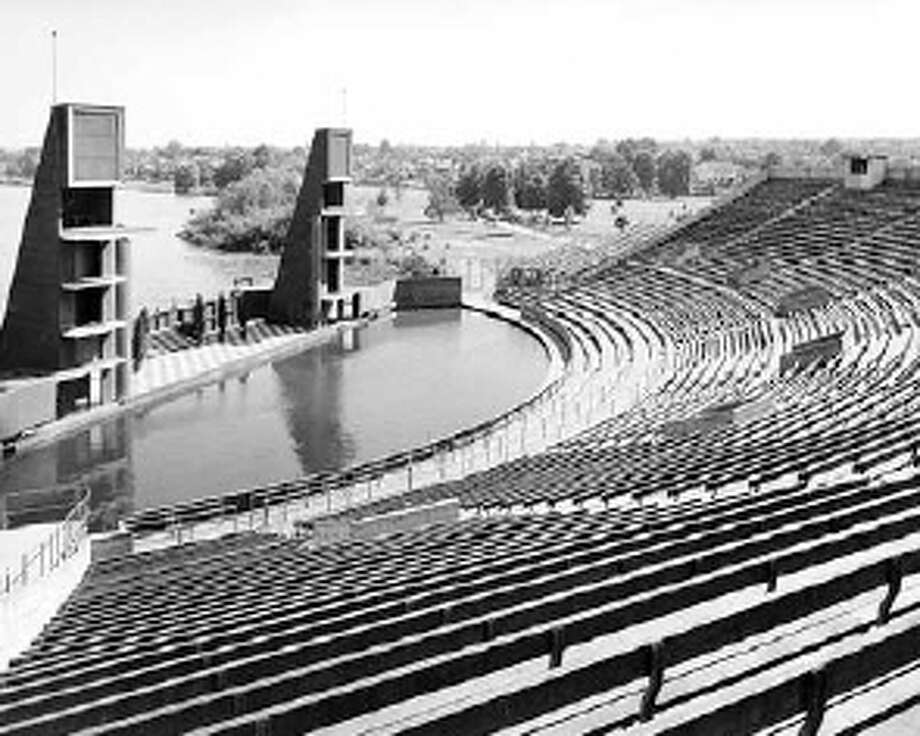 The Green Lake Aqua Theater, pictured in 1950, are another example architect George Wellington Stoddard's work. Stoddard designed the building at 777 Thomas Street early in his career. Photo from the University of Washington's collection. Photo: /
