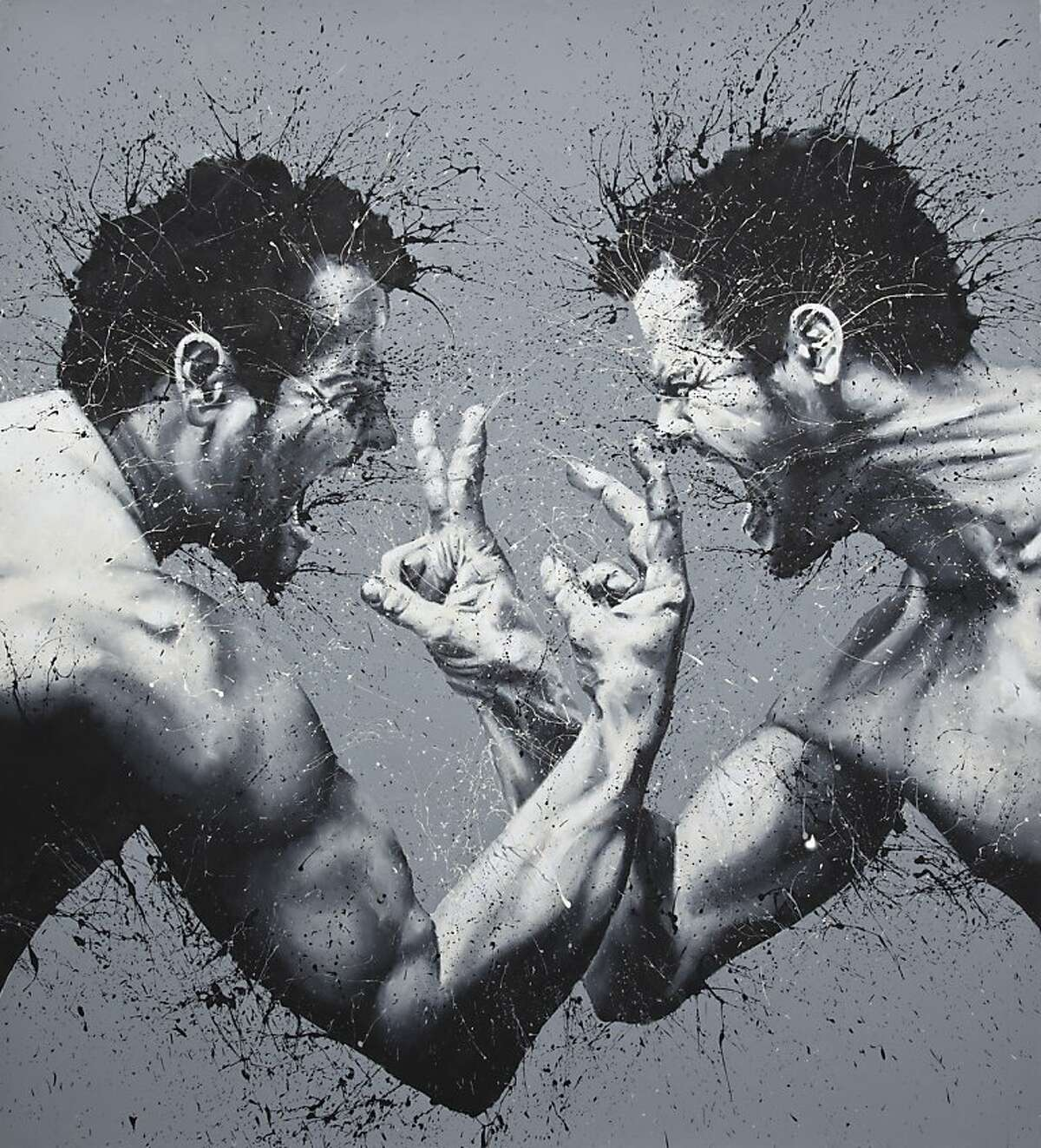 Guerra e Pace (War and Peace) by Paolo Troilo. The Italian finger painting artist Paolo Troilo's art will be having his first US exhibit at Coup d'Etat gallery, thanks to a lucky discovery by GAP Creative Director Stephen Brady.