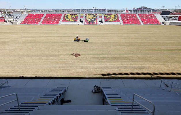 A worker tends to the field at the new Toyota Field home of the San Antonio Scorpions Friday March 1, 2013. The teams' home opener is Saturday April 13, 2013 at 7:30 p.m. against the Tampa Bay Rowdies. Photo: Edward A. Ornelas, Edward A. Ornelas / San Antonio Express-News / © 2013 San Antonio Express-News