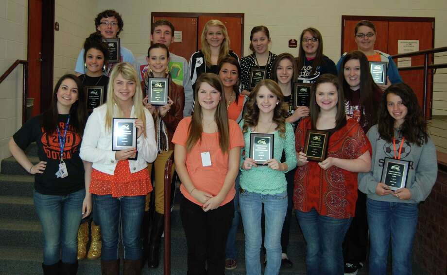Back Row L to R: Brant Jones, Recycle and Re-design; Matt Hicks, VP of Competitive Events; Kimberly Smith, honorable mention, Illustrated Talk; Carly Cooper and Brook Harvey, 1st place, Promote and Publicize; Hayley Dawson and Carly Goff (not pictured), 4th place, National Programs and Action Senior. Middle Row L to R: Victoria Shellhammer and Lacie Owens (not pictured), Life Event Planning; Kambrie Laurent, 3rd place, Entrepreneurship; Lauren Lee, helper, Connection Team; Kennedy Thompson and Kenndall Stone, 1st place National Programs in Action Junior. Front Row L to R: Alexis Loller, Connection Team; Ashley McGilberry and Karie Carpenter (not pictured), 3rd place, Chapter Service Project Display Senior; Brittany Tatum, VP of Records; Madison Bonnette, 1st place, Fashion Design; Lauren Kuebodeaux, 2nd place, Early Childhood; Madison Apshire, 2nd place, National Programs in Action Junior. Photo: Jay Cockrell