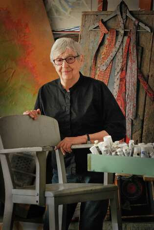 "Constance Kiermaier, here in her Norwalk studio, has a retrospective of her work ""Delving Forward and Backward,"" on display through Friday, March 15 , 2013, at the UConn Stamford Art Gallery, One University Place, Stamford, Conn. An opening reception is scheduled for Saturday, March 9. For more information, visit http://www.stamford.uconn.edu/ArtGallery. Contributed photo/Ray Michaud Photo: Contributed Photo"