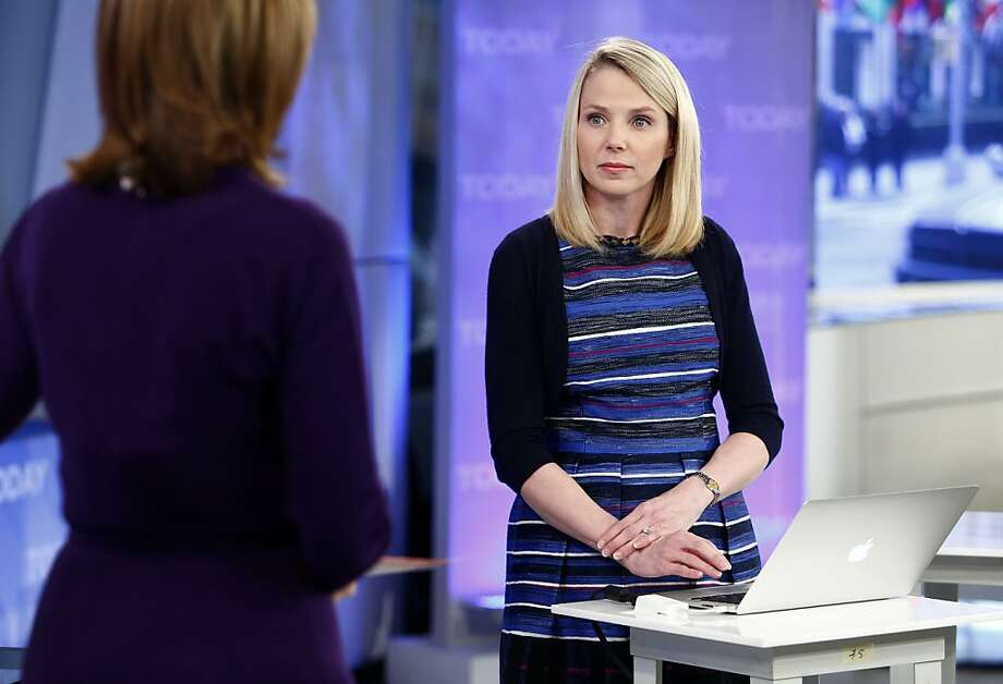 "This image released by NBC shows Yahoo CEO Marissa Mayer on NBC News' ""Today"" show, Wednesday, Feb. 20, 2013 in New York to introduce the website's redesign. Yahoo is renovating the main entry into its website in an effort to get people to visit more frequently and linger for longer periods of time. The long-awaited makeover of Yahoo.com's home page is the most notable change to the website since the Internet company hired Marissa Mayer as its CEO seven months ago. The new look will start to gradually roll out in the U.S early Wednesday. (AP Photo/NBC Peter Kramer/NBC/NBC NewsWire) Photo: Peter Kramer, Associated Press"