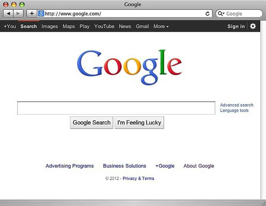 Google homepage Photo: Google