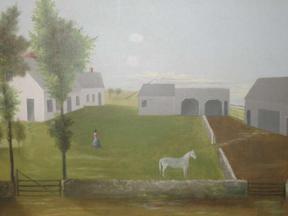 This unsigned mid-19th century, oil-on-canvas folk farm yard painting, from Find Weatherly, of Westport, Conn., will be among the items on display at the 46th annual Darien Antiques Show in Darien, Conn. The show kicks off with a preview party, Friday, March 1, 2013, and continues through Saturday and Sunday, March 2 to 3. About 35 dealers are expected to have items on display for purchase. For more information, call 203-655-0491 or visit http://www.darienantiqueshow.org.