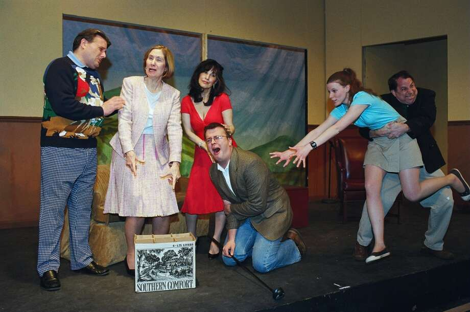 Dickie (Tom Petrone), Muriel (Marcia Vinci), Pamela (Deborah Burke), Louise (Sarah Smegal), Henry (Kevin McDonough) and Justin (Morgan Flagg) play out one of the many comedic scenes that await viewers of the Town Players of New Canaan production of Ken Ludwig's The Fox on the Fairway. The show runs at the Powerhouse Theatre in New Canaan, Conn., Friday and Saturday, Feb. 22 to 23, and March 1, 2, 8, 9, 2013, at 8 p.m.; Sunday matinees set for Feb. 24 and March 3 at 2:30 p.m. For tickets, call 203-966-7371. Contributed photo/Tom Hughey