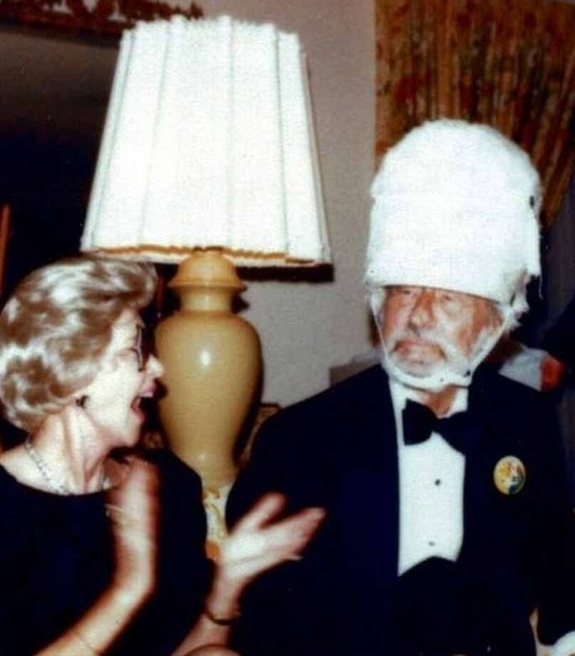 Ted Geisel in a San Diego State band hat, with his wife, Audrey.