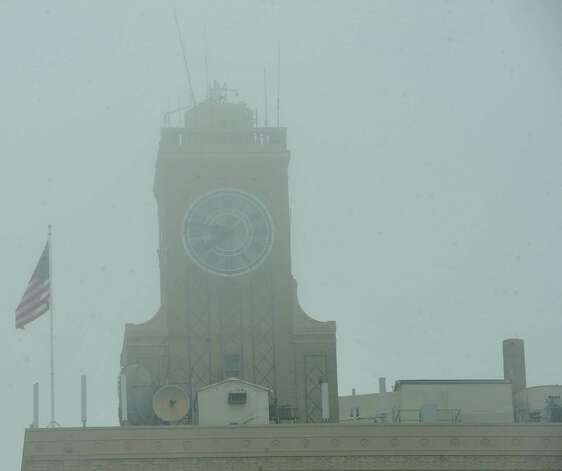 On Monday morning February 25, 2013,  Beaumont was blanketed in fog, causing everything, not on the ground per se, to be viewed in shades of gray.  I got the idea coming to work to just drive around and shoot scenes at random.  This is a shot of the San Jacinto clock tower.   Dave Ryan/The Enterprise
