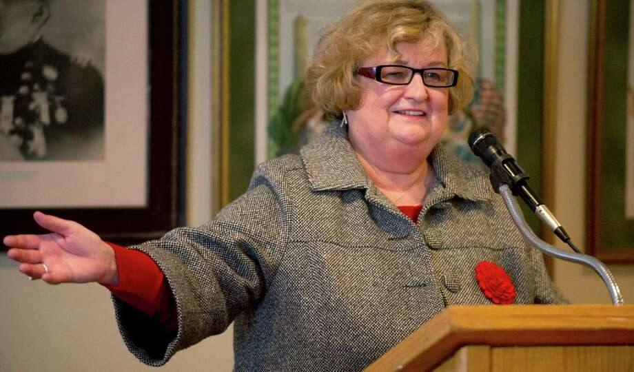 Eileen Heaphy speaks at Hibernian Hall in Stamford, Conn., as she announces her bid for mayor on Friday, March 1, 2013. Photo: Lindsay Perry / Stamford Advocate