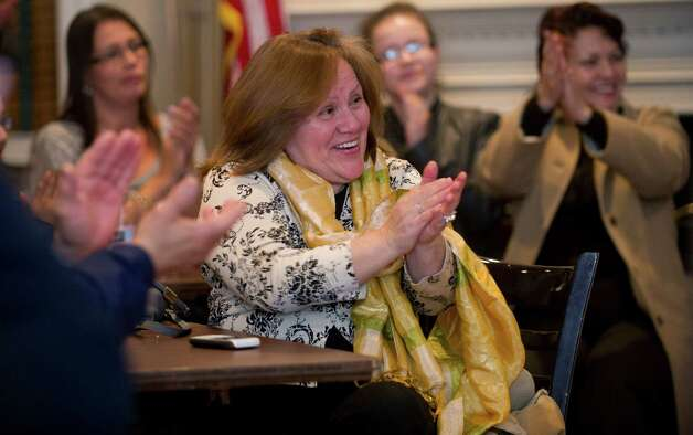 Supporters clap as Eileen Heaphy speaks at Hibernian Hall in Stamford, Conn., as she announces her bid for mayor on Friday, March 1, 2013. Photo: Lindsay Perry / Stamford Advocate