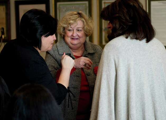 Eileen Heaphy speaks with supporters at Hibernian Hall in Stamford, Conn., before announcing her bid for mayor on Friday, March 1, 2013. Photo: Lindsay Perry / Stamford Advocate