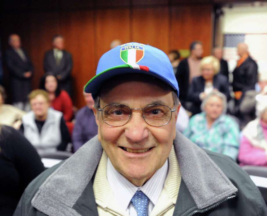 "Anthony Marzullo of Cos Cob during the âÄúFrom Italy To America âÄù ceremony designating two towns in southern Italy, Morra De Sanctis in Campania and Rose in Calabria, as sister cities of Greenwich, at Greenwich Town Hall, Friday night, March 1, 2013. Marzullo said his grandfather emigrated from Rose at the age of 14 and settled in Greenwich. Following the ceremony, the guests and Greenwich Historical Society members attended the opening of ""From Italy to America"" at the Greenwich Historical Society's Storehouse Gallery. The exhibition, which opens to the public Saturday, features a range of archival photographs, documents and objects dating from the 1880s that relate to the immigrant experience. Many of the items were collected during the Society's ""Discovery Days, "" which were held this past September through December. More than 100 people brought in objects for the exhibition that illustrate the experiences, traditions, challenges and contributions of Italian immigrants in Greenwich. Photo: Bob Luckey / Greenwich Time"