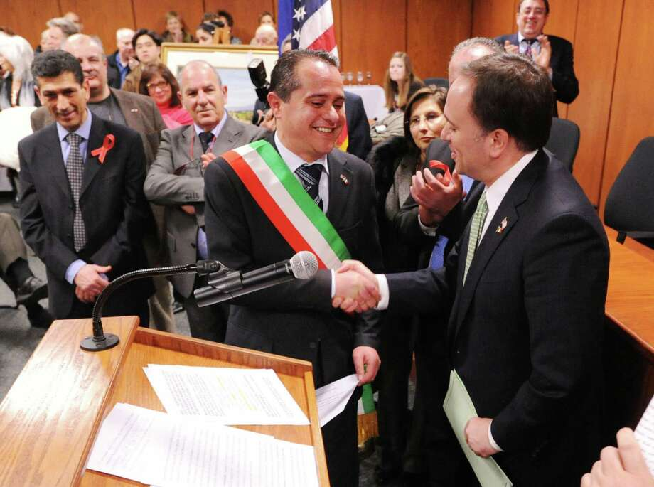 The âÄúFrom Italy To America âÄù ceremony designating two towns in southern Italy, Morra De Sanctis in Campania and Rose in Calabria, as sister cities of Greenwich, at Greenwich Town Hall, Friday night, March 1, 2013. Photo: Bob Luckey / Greenwich Time