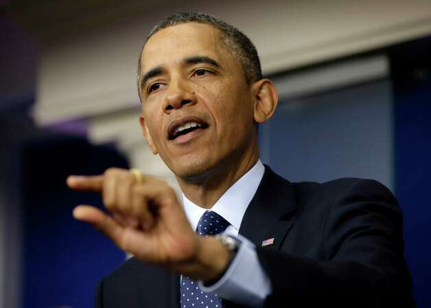 President Barack Obama speaks to reporters in the White House briefing room in Washington, Friday, March 1, 2013, following his meeting with congressional leaders regarding the automatic spending cuts. (AP Photo/Pablo Martinez Monsivais) Photo: Pablo Martinez Monsivais