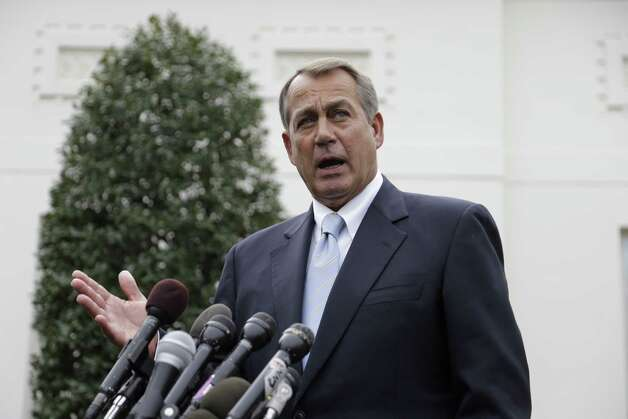 House Speaker John Boehner of Ohio speaks to reporters outside the White House in Washington, Friday, March 1, 2013, following a meeting with President Barack Obama and Congressional leaders regarding the automatic spending cuts. (AP Photo/Carolyn Kaster) Photo: Carolyn Kaster