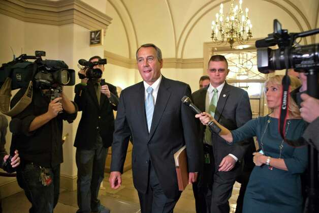 House Speaker John Boehner of Ohio arrives on Capitol Hill in Washington, Friday, March 1, 2013, after a meeting at the White House between President Barack Obama and Congressional leaders before billions of dollars in mandatory budget cuts were to start. The meeting — lasting less than an hour — yielded no immediate results. (AP Photo/J. Scott Applewhite) Photo: J. Scott Applewhite