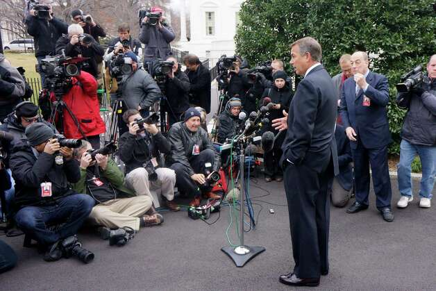 House Speaker John Boehner of Ohio talks to reporters outside the White House in Washington, Friday, March 1, 2013, following a meeting with President Barack Obama and Congressional leaders regarding the automatic spending cuts. (AP Photo/Charles Dharapak) Photo: Charles Dharapak