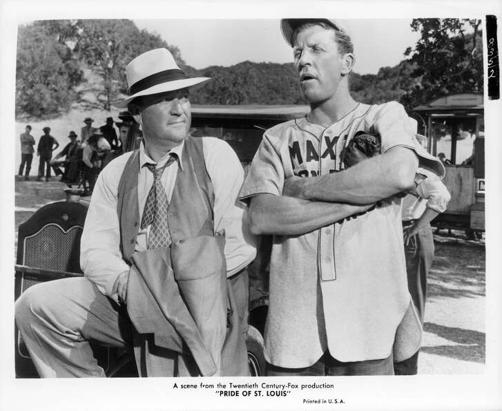 Dan Dailey (right) portrayed a famous pitcher in the 1952 film ''The Pride of St. Louis.''