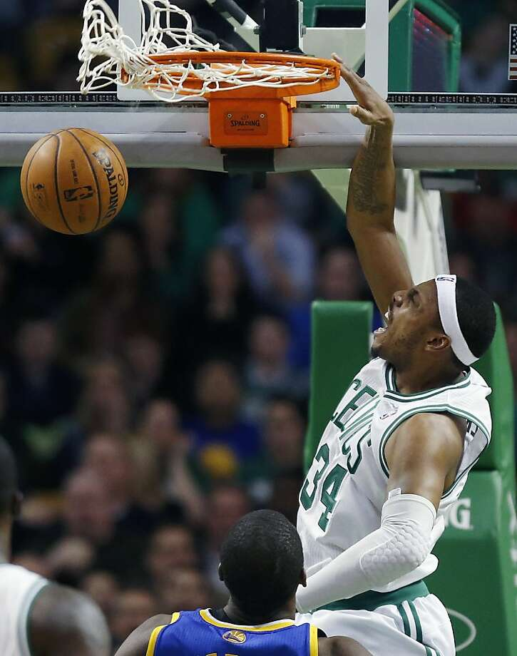 Boston Celtics' Paul Pierce (34) dunks during the third quarter of an NBA basketball game against the Golden State Warriors in Boston, Friday, March 1, 2013. The Celtics won 94-86. (AP Photo/Michael Dwyer) Photo: Michael Dwyer, Associated Press