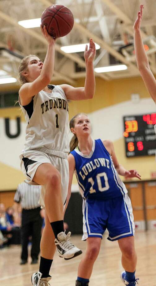 (9) Amanda Pfohl, Trumbull. The 19 points Pfohl scored against Ridgefield isn't spectacular, but how she got them was. The Eagles star put on a shooting clinic by nailing five three-pointers in the 49-41 overtime win. Photo: Mark Conrad / Connecticut Post Freelance