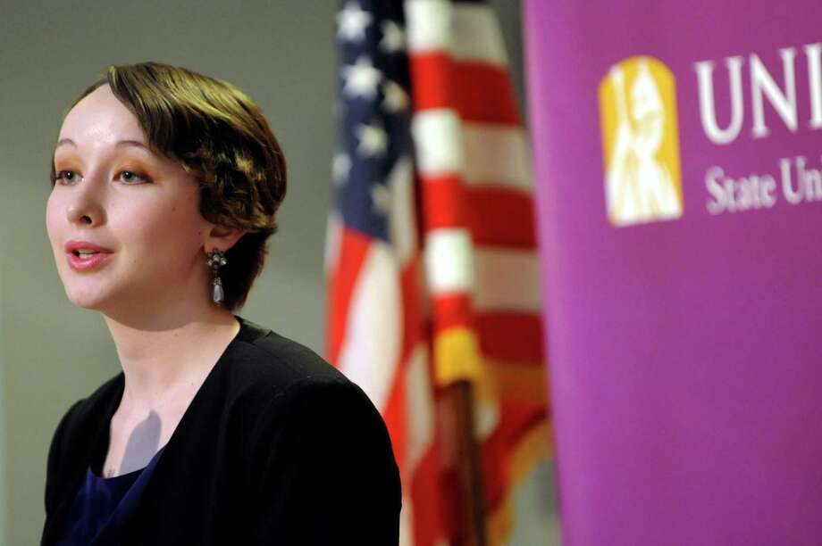 Undergraduate Emma Spalti, 20, who's double majoring in Chinese and English, speaks during a Leaders' Forum to address the SUNY Capital Plan on Friday, March 1, 2013, at UAlbany in Albany, N.Y. (Cindy Schultz / Times Union) Photo: Cindy Schultz / 00021385A