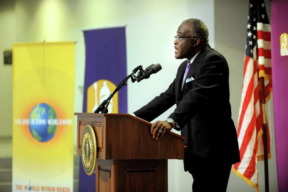 UAlbany president Robert Jones speaks during a Leaders' Forum to address the SUNY Capital Plan on Friday, March 1, 2013, at UAlbany in Albany, N.Y. (Cindy Schultz / Times Union) Photo: Cindy Schultz / 00021385A