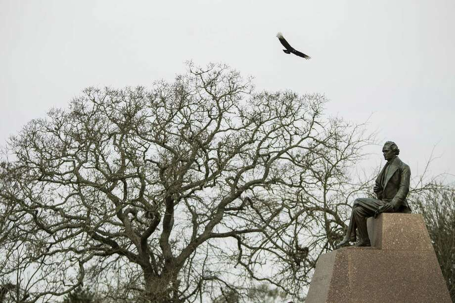 This statue of Stephen F. Austin was made in 1936 as a part of Texas' centennial celebration. It's now one of the markers visitors to the San Felipe de Austin State Historic Site will encounter. Photo: Photos By Nick De La Torre / Houston Chronicle