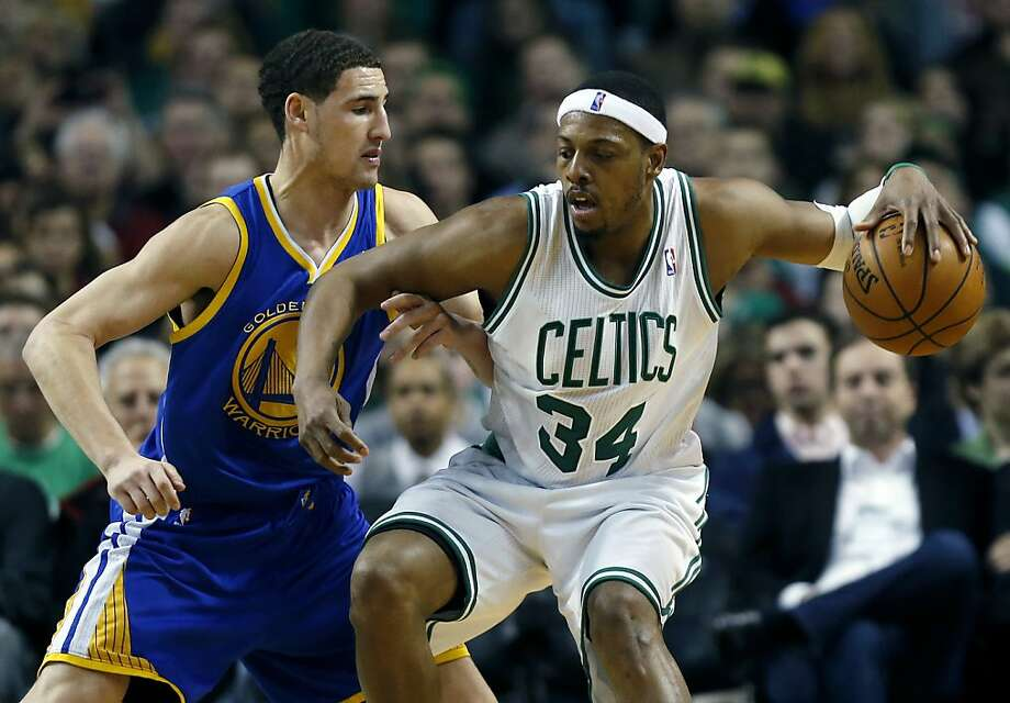 Boston Celtics' Paul Pierce (34) looks to move against Golden State Warriors' Klay Thompson during the third quarter of an NBA basketball game in Boston, Friday, March 1, 2013. The Celtics won 94-86. (AP Photo/Michael Dwyer) Photo: Michael Dwyer, Associated Press