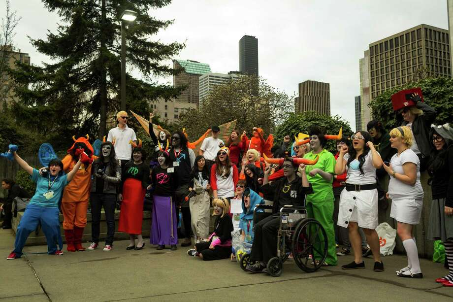 Costumed crusaders and attendees mingle together. Photo: JORDAN STEAD / SEATTLEPI.COM