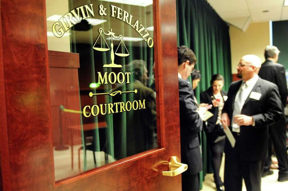 Door to Siena's new courtroom on Friday, March 1, 2013, at Siena College in Loudenville, N.Y. Pre-law students compete on a Moot Court / Mock Trial Team and will hold court proceedings in the new room. School alumni Jay Girvin and Sal Ferlazzo funded the design and development of the room. (Cindy Schultz / Times Union) Photo: Cindy Schultz / 00021359A