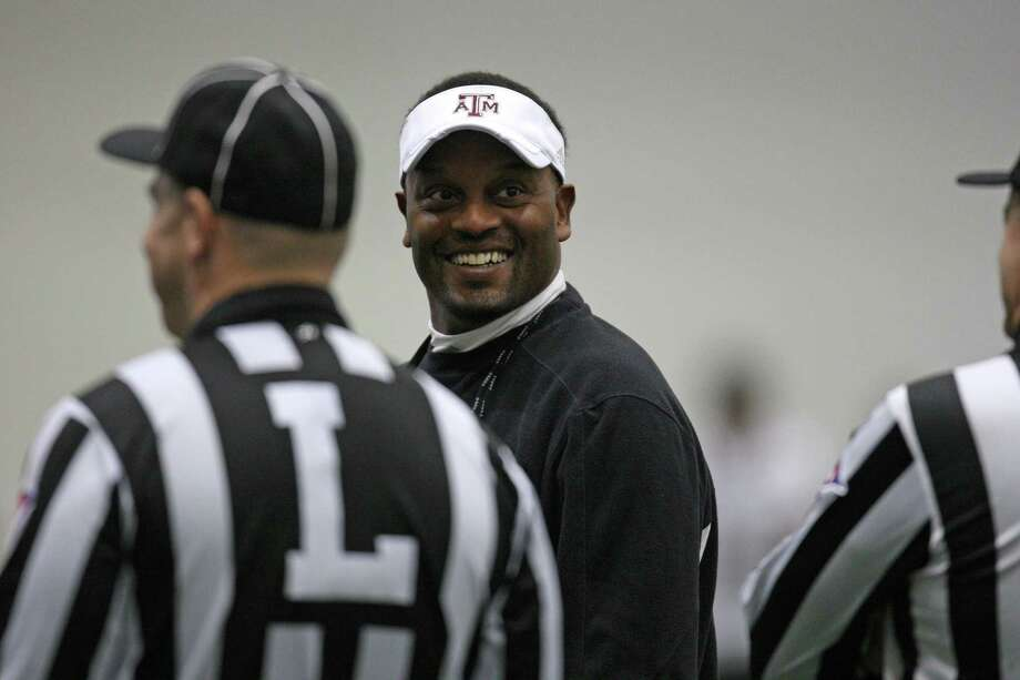 Texas A&M head football coach Kevin Sumlin (center) during Spring football practice, Saturday, March 2, 2013 at the McFerrin indoor complex at Texas A&M University in College Station, TX. (Photo: Eric Christian Smith/For the Houston Chronicle) Photo: Eric Christian Smith, For The Chronicle
