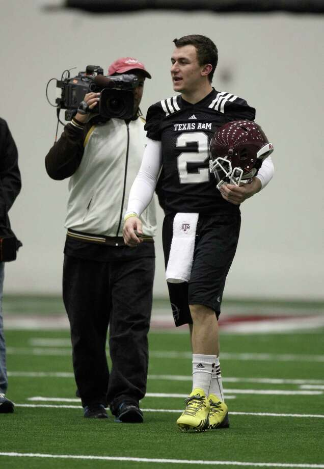 Texas A&M quarterback Johnny Manziel during Spring football practice, Saturday, March 2, 2013 at the McFerrin indoor complex at Texas A&M University in College Station, TX. (Photo: Eric Christian Smith/For the Houston Chronicle) Photo: Eric Christian Smith, For The Chronicle