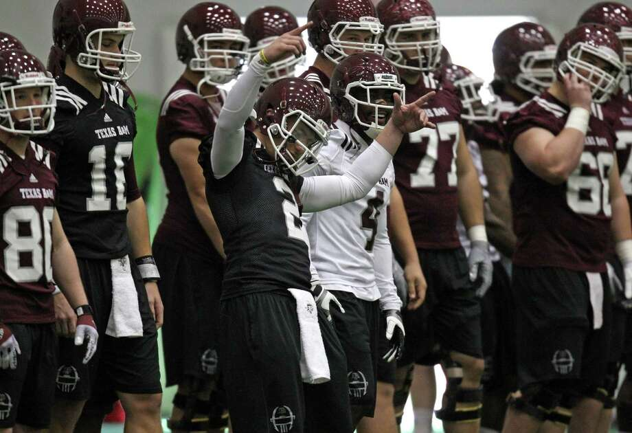 Texas A&M quarterback Johnny Manziel (2) during Spring football practice, Saturday, March 2, 2013 at the McFerrin indoor complex at Texas A&M University in College Station, TX. (Photo: Eric Christian Smith/For the Houston Chronicle) Photo: Eric Christian Smith, For The Chronicle