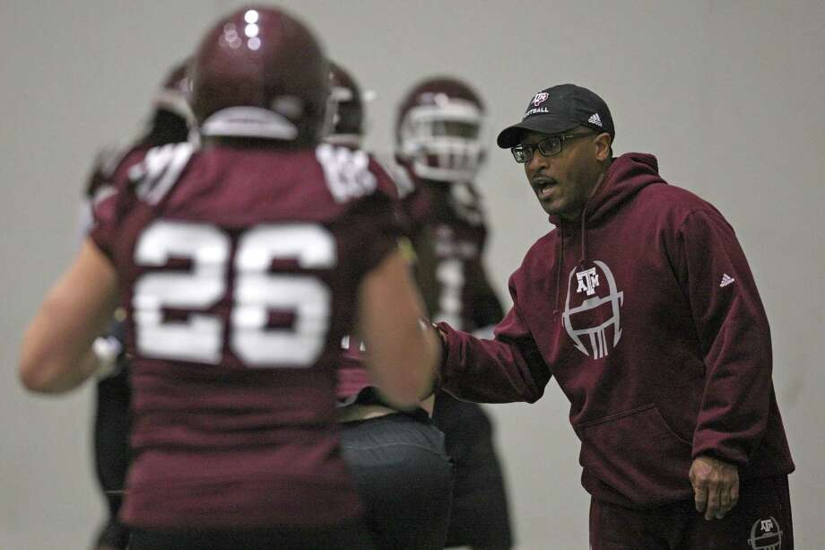 Texas A&M offensive coordinator Clarence McKinney during Spring football practice, Saturday, March 2, 2013 at the McFerrin indoor complex at Texas A&M University in College Station, TX. (Photo: Eric Christian Smith/For the Houston Chronicle) Photo: Eric Christian Smith, For The Chronicle