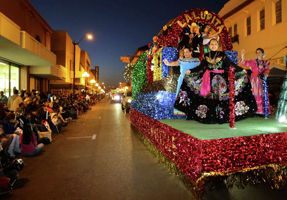 The City of Brownsville float mosies down Elizabeth St. in The Illuminated Parade during Charro Days Fiesta in Brownsville, TX on Friday, March 1, 2013.