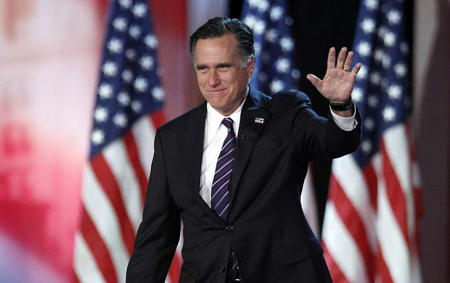 FILE - In this Nov. 7, 2012, file photo, Republican presidential candidate and former Massachusetts Gov. Mitt Romney waves to supporters at an election night rally in Boston, where he conceded the race to President Barack Obama. Romney has emerged from nearly four months in seclusion for an interview with Fox News. He's also scheduled to deliver his first postelection speech this month at Washington's Conservative Political Action Conference. (AP Photo/Stephan Savoia, File) Photo: Stephan Savoia, Associated Press