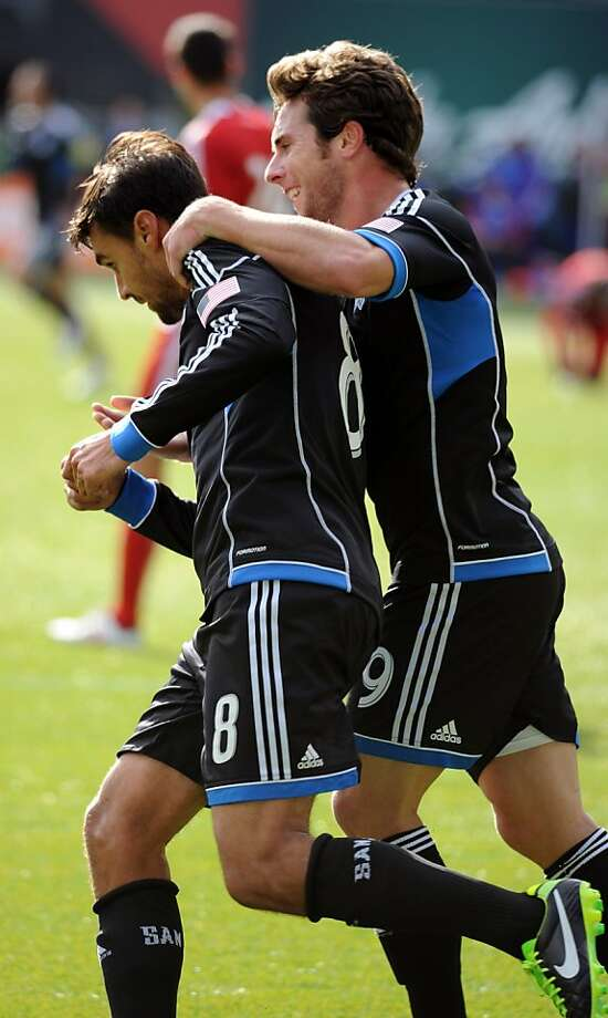 Chris Wondolowski (8) and Mike Fucito (9) complement each other up front. Photo: Steve Dykes, Getty Images