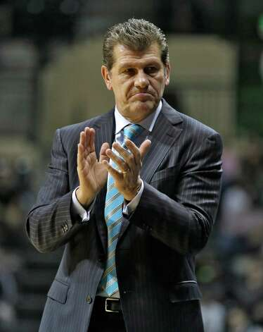 Connecticut head coach Geno Auriemma during the second half of an NCAA women's college basketball game Saturday, March 2, 2013, in Tampa, Fla. Connecticut won the game 85-51. (AP Photo/Chris O'Meara) Photo: Chris O'Meara, Associated Press / AP