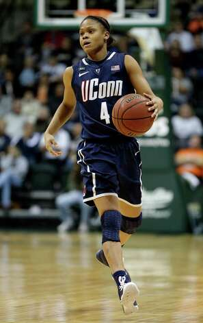 Connecticut guard Moriah Jefferson (4) during the second half of an NCAA women's college basketball game against South Florida Saturday, March 2, 2013, in Tampa, Fla. Connecticut won the game 85-51. (AP Photo/Chris O'Meara) Photo: Chris O'Meara, Associated Press / AP