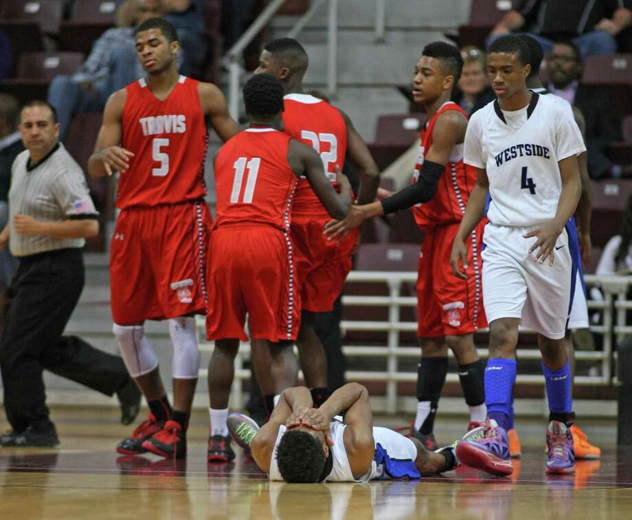 Westside's Franklin Iheanacho reacts after being called for a foul. Photo: Eric Christian Smith, For The Chronicle