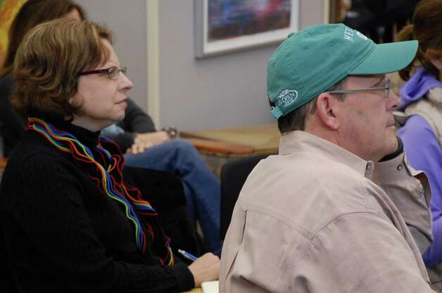 "Amy Schneider of Westport, left, and Kevin Carroll of Westport, each shared about their favorite apps Saturday at the Westport Public Library's 2nd annual ""App Slam.""  WESTPORT NEWS, CT 3/2/13 Photo: Jarret Liotta / Westport News contributed"