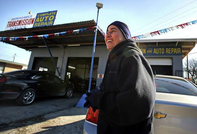 Anna Vasquez fills in answering phones at her brother David Vasquez's auto shop on N. WW White on Feb. 19, 2013, while he is out of town.  She was given permission to be there by her parole officer until they realized the property backed up to a school property line. There aren't many places she is allowed to go.  Read more: Sex-offender status imposes harsh limits on paroled woman Photo: Bob Owen, San Antonio Express-News / © 2012 San Antonio Express-News